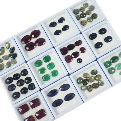 79Pcs Natural Multi Color Emerald/Ruby/Sapphire/Labradorite Mix Cut/Cab Gems Lot