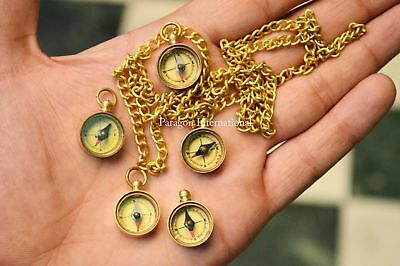 Working Brass Compass LOT OF 5 Necklace With Chain Maritime Nautical Gift