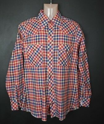 Vintage 1970s Plaid check red Levi's Western Cowboy Shirt Large