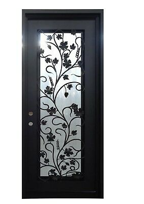 "Aubrey Single Front Entry Wrought Iron Door Operable Frosted Glass 40"" x 96"""