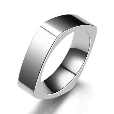 6mm Silver Square Band Men Women 316L Stainless Steel Smooth Punk Ring Size 6-10