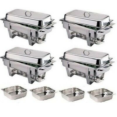 Pack Four Olympia Chafing Dishes & Four Extra 1/2 Pans *Free Next Day Delivery*