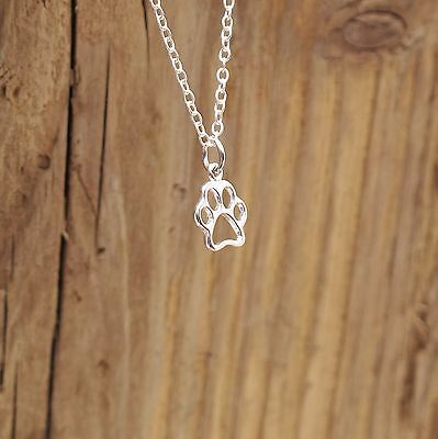 Sterling Silver Tiny Dog Cat Paw Print Charm Pendant Necklace Gift Boxed
