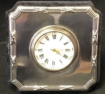 Vintage Sterling Silver Table Clock ,-Working