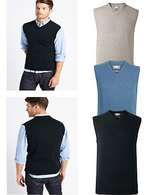 Mens Ex Famous Stores  Pure Cotton V-Neck Sleeveless Jumper Slipover Sweater M&5