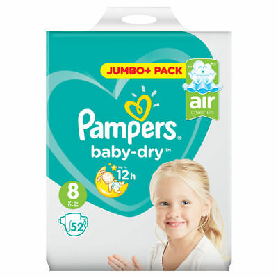 Pampers Size 8 Baby Dry New Size Jumbo+ Pack of 52 Nappies Diapers