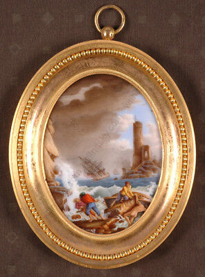 """Shipwreck"", French Miniature on Porcelain, Empire Ormolu Frame, early 19th c."