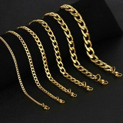 Classic Men Boy Women jewelry Gold Stainless Steel Figaro Necklace Chain 3-7mm