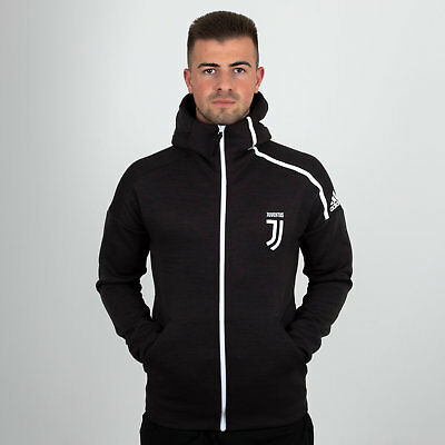 adidas Mens Juventus 18/19 ZNE Full Zip Hooded Football Sweat Black Top