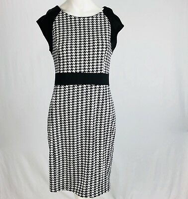 d89adec3c35 Kara Girl Womens Dress Houndstooth Sheath Black White Work Career Large XL