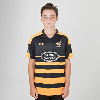 Under Armour Wasps 2018/19 Kids Supporters Rugby Shirt Black Top Sports