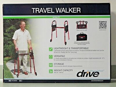 """NEW Drive Portable Folding Travel Walker with 5"""" Wheels and Fold up Legs"""