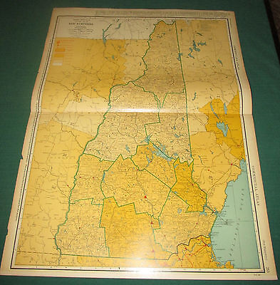 Vintage Rare Large Comercial 1941 Map New Hampshire  Railroad Line