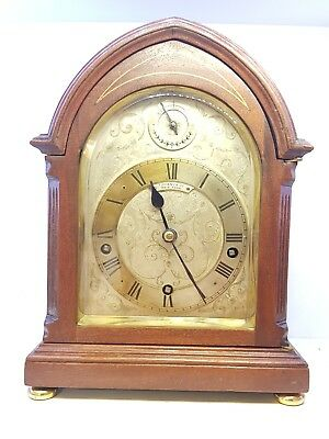 Tiffany & Co Mahogany Westminster Chimes Three Train 8 Day Bracket Mantle Clock