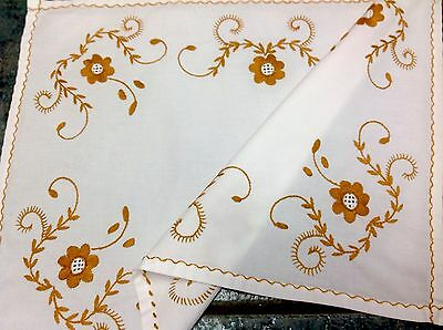 Vintage Hand Embroidered White Linen Table Centre / Tray Cloth