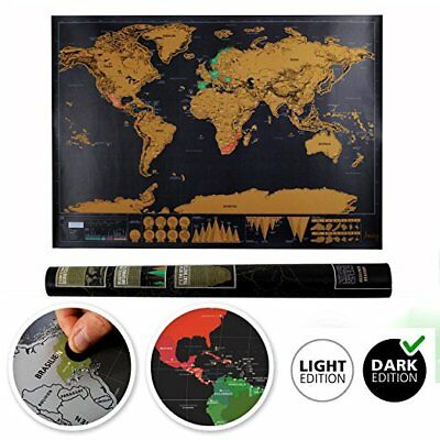 Scratch Off Map World Deluxe Large Personalized Travel Poster Journal Map Gift