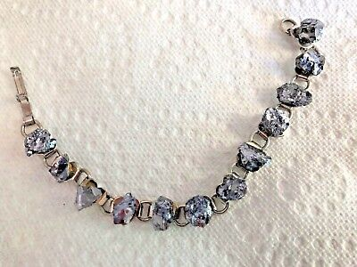 VINTAGE Silver colored HEARTS w Gray Shiny Quarts Stones Links between BRACELET