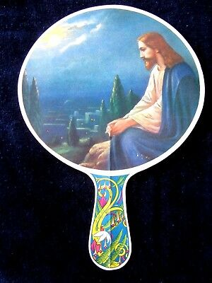 Vibrant Vintage Advertising Fan Jesus Praying, Perfect for Easter!