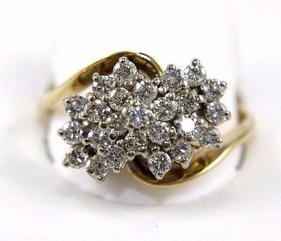 Round Diamond Cluster Bypass Lady's Ring Band 14k Yellow Gold .85Ct