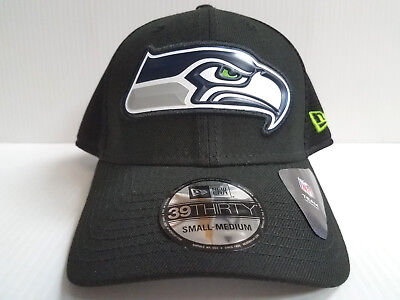 079ddefdc32 Seattle Seahawks Cap New Era 39Thirty Stretch Fit Fitted Black Fan Mesh Hat  NFL