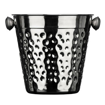 Premier Stainless Steel Ice Bucket Bottle Cooler with Handles Hammered Effect