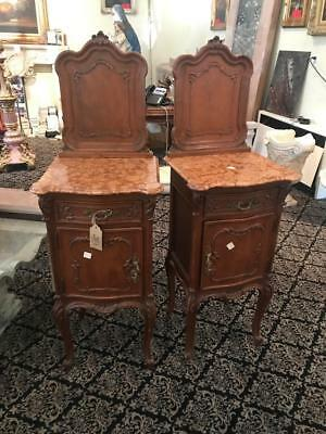 Beautiful Antique Marble Top Italian Antique Walnut Night Stands - 14It048C