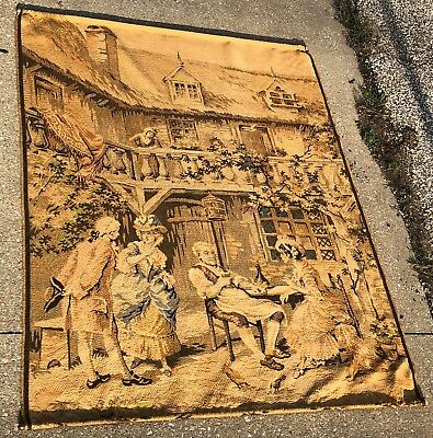 "Vintage 63"" LARGE French Nobles Tavern Courting Woven Tapestry w/ Brass Rods"