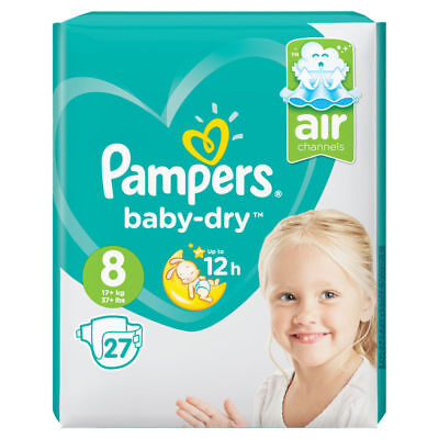 Pampers Size 8 Baby Dry New Size Pack of 27 Nappies Diapers