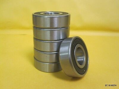 Six (6) 6203-2RS Rubber Sealed Ball Bearing, 17x40x12, Lubricated 6203RS