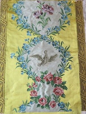 "Antique French Silk Brocade Sample Fabric~Bird & Florals~14""L X 12""W"