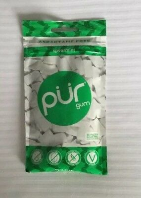 PUR Sugar Free Chewing Gum - Aspartame Free - SPEARMINT - 2 Pack of 55 Pieces