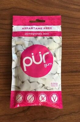 PUR Sugar Free Chewing Gum Aspartame Free POMEGRANATE MINT - 1 Pack of 55 Pieces