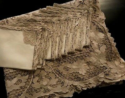 "Exceptional Needle Lace Tablecloth 105"" x 85"" & 8 Napkins Elaborate Flolal Motif"