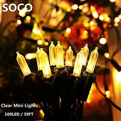 Secoo M5 Solar Powered String Lights 100 LED 39ft Outdoor Clear Mini Christmas