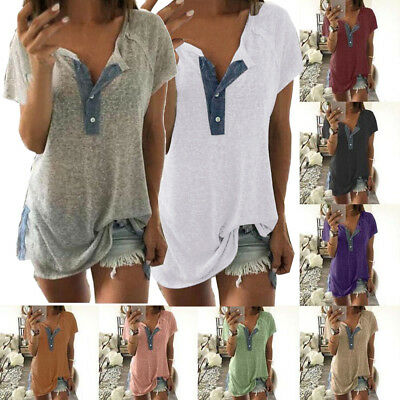 Women's Short Sleeve Loose Plus Casual Button Blouse T Shirt Tank Tops Pullover