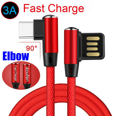 Fashion Elbow USB-C USB 3.1 Type-C Data Sync 3A Fast Charging Charger Cable Cord