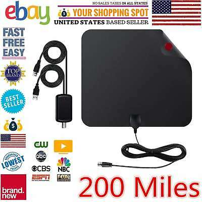 Antenna Digital TV HD 200 Mile Range Skywire TV Indoor 1080P 4K 16ft Coax Cable