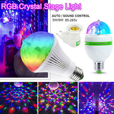 Disco Stage RGB E27 LED Lights Crystal Ball Bulb Auto/Sound Control TV Party