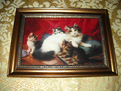 MOTHER CAT & KITTENS 4 x 6 gold framed art print Victorian style animal picture