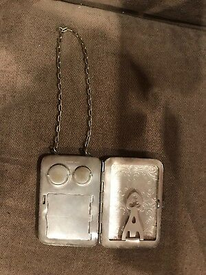 german silver, compact, coin dancing purse, small, antique