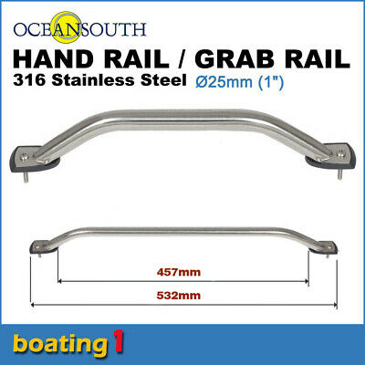 316 STAINLESS STEEL 457mm SS MARINE HAND/GRAB RAIL - Boat/Yacht Handrail 25 dia