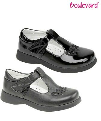 Girls Mary Jane//T Bar Black School Shoes Touch Fasten Size 4-12 Infants