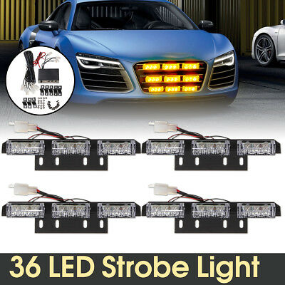 12V 36 LED 4 Bars Car Flashing Emergency Grill Light Recovery Strobe Lamp Amber