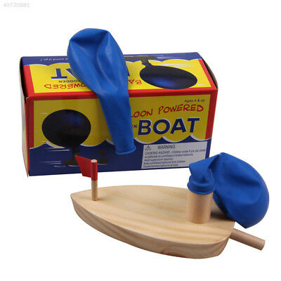 Kids Bath Balloon Powered Boat Wooden Classic Funny Floating Light Swimming