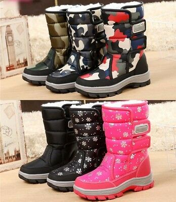 Kids Girls Boys Camo Waterproof Thick Snow Boots Fleece Lined Thermal Boot Shoes