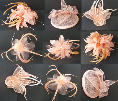 Peach Fascinator - Salmon Wedding Bridal Hair Ascot Hat Hatinator Feather lot