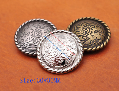 10X Art Flower Engraved Leathercraft Wallet Hardware Decor Conchos Screw back