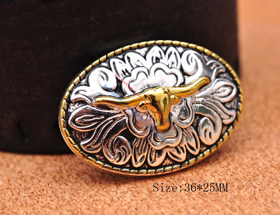 5X 36*25MM Silver Gold Western Longhorn Bull Flower Engraved Saddlea Tack CONCHO