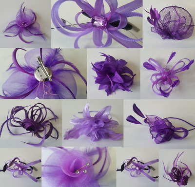 Purple Fascinator - Lilac Mauve - Wedding Ascot Hat Veil Hatinator Feather lot