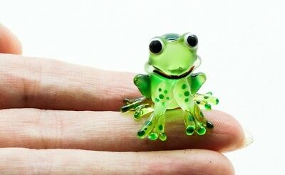 Figurine Animal Hand Blown Glass Amphibian Miniature Kero Green Frog Gift